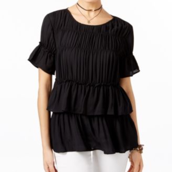 9c59ec9229 INC International Concepts Ruched Ruffled Top New